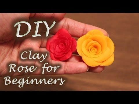 How to make a rose clay flower | Tutorial for beginners | Cold Porcelain Clay rose without tools