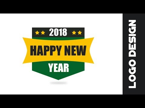 2018 How to design a Happy New year logo in photoshop cs6 | Logo Design Tutorial