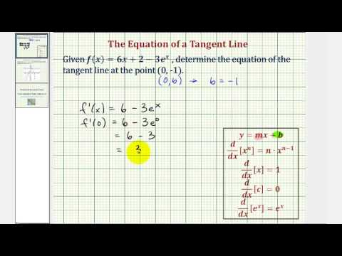 Ex: Find the Equation of a Tangent Line at a Given Point -- Linear and Exponential Function