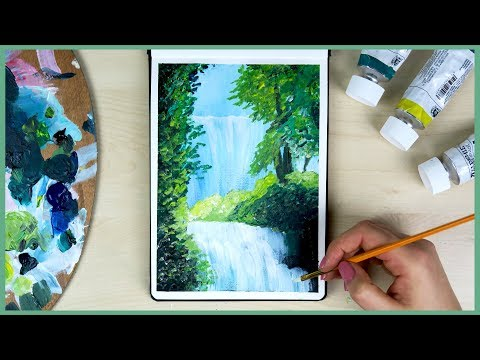 How to Paint a Waterfall with Acrylic Paint for Beginners   Art Journal Thursday Ep. 23
