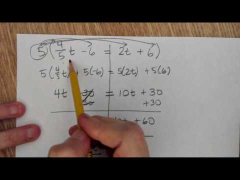 Equations with variables on both sides of the equal sign, fraction and decimal coefficients