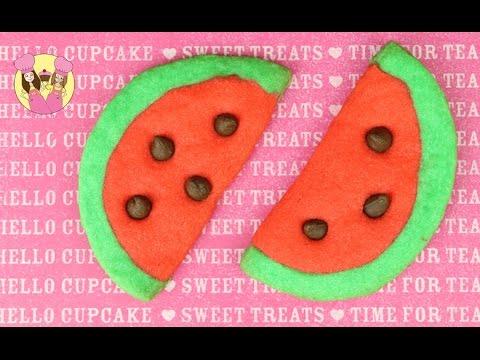 WATERMELON EMOJI COOKIES! So kawaii - add a popsicle stick to make them cookie pops