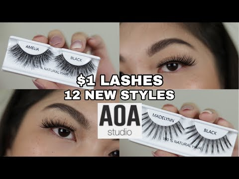 SHOPMISSA AOA $1 LASHES TRY ON | 12 NEW STYLES | 2018 LAUNCH