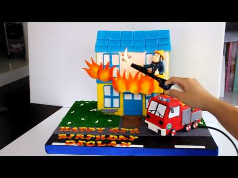 Fireman Sam Cake with Hose that puts out flame - SINGAPORE