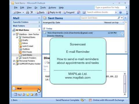 How to send e-mail reminders about appointments and task in Outlook