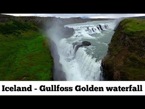 ICELAND Gullfoss Golden waterfall ( Golden Circle ) Phantom 4 aerial drone view