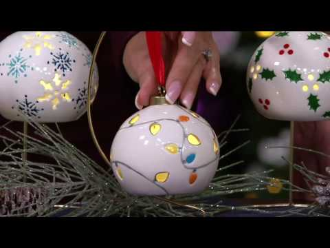 Lightscapes S/5 Porcelain Handpainted Lit Ornaments with Gift Boxes on QVC
