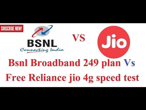 Bsnl  broadband 249 plan Vs Free Reliance jio 4g speed test [Hindi-हिन्दी]