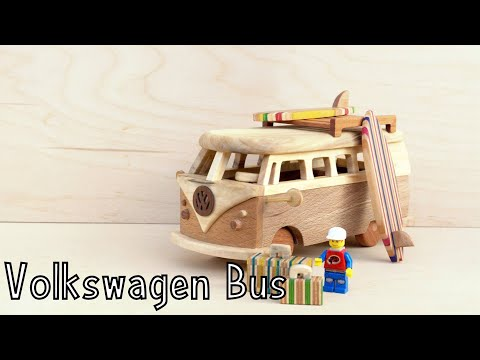 How To Make a Wooden Toy Volkswagen Bus - Wooden Creations | How To Woodworking | Lego Surfing