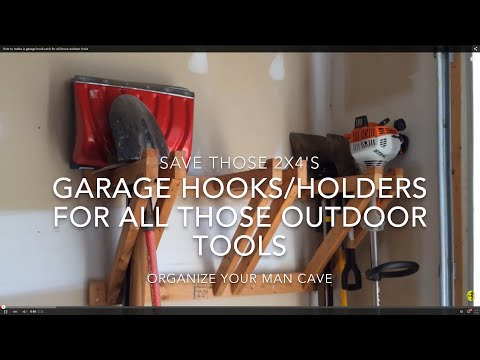 How to make a garage hook rack for all those outdoor tools (gardening, shovels, scooters)