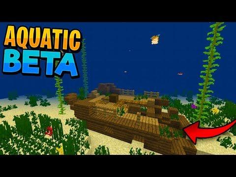SHIPWRECKS, UNDERWATER RAVINES & ICEBERGS!! - Minecraft 1.3 Gameplay (Aquatic Beta PE/Xbox/Win10)