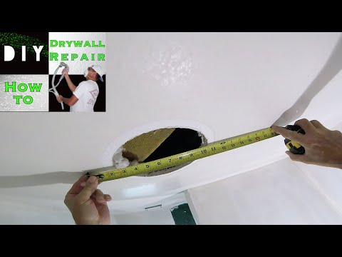 How to Patch Drywall Hole on a Ceiling- DIY Drywall Repair Tutorial Part 1- Installing drywall