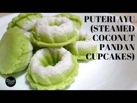 Shiokman Puteri Ayu (Steamed Coconut Pandan Cupcake)