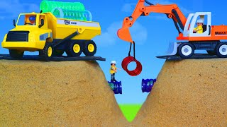 Excavator & Truck Toys Fix the Street Story for kids