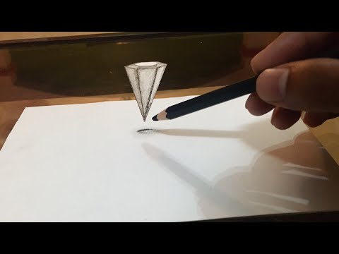 How to draw floating objects on paper - Anamorphic trick art