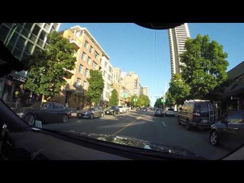 Driving on Robson st in Vancouver, BC