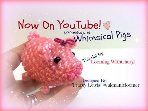 Rainbow Loom Whimsical Pigs Loomigurumi Amigurumi Hook Only свинья Лумигуруми