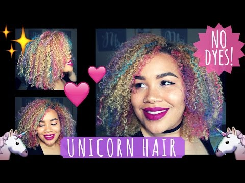 How to get UNICORN HAIR using Hair Chalk! No Dyes! | Naturally Sade