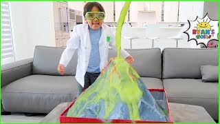 Ryan learns Easy DIY Science Experiment for Kids with how to make a homemade Volcano