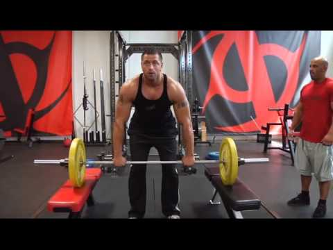 Bodybuilding weight lifting, power clean from blocks, weight training exercises