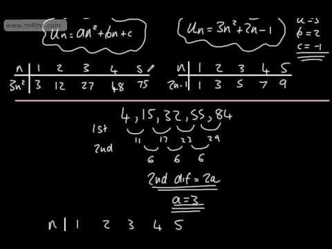 9-1 GCSE Maths - Quadratic Sequence (nth term of a formula) New Content