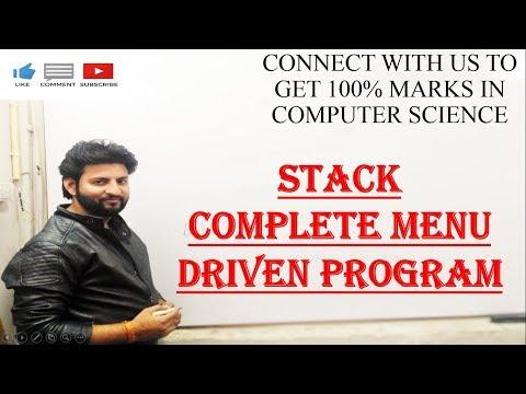 STACK COMPLETE MENU DRIVEN PROGRAM EXAMPLE || PRACTICAL EXAM || CBSE CS|| GET 100% IN CS