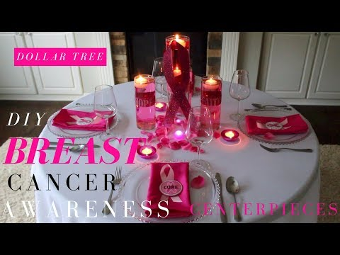DIY BREAST CANCER AWARENESS CENTERPIECE | PINK RIBBON CENTERPIECE | DOLLAR TREE CANCER AWARENESS