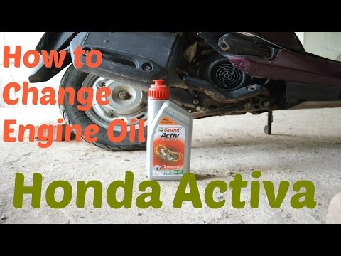 how to change engine oil in honda activa
