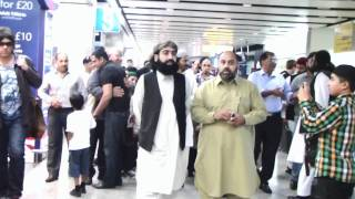 Pir Syed Ghulam Nizamuddin Jami Sahibs Departure from heathrow Airport.wmv