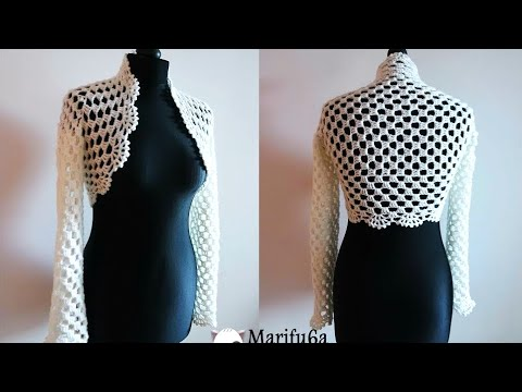 How to crochet bridal bolero Chaleco jacket for beginners para principiantes  free tutorial