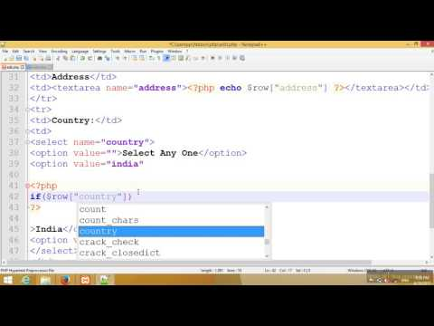 Dropdown value edit and update in Mysql Database PHP Tutorial-104(Hindi/Urdu)