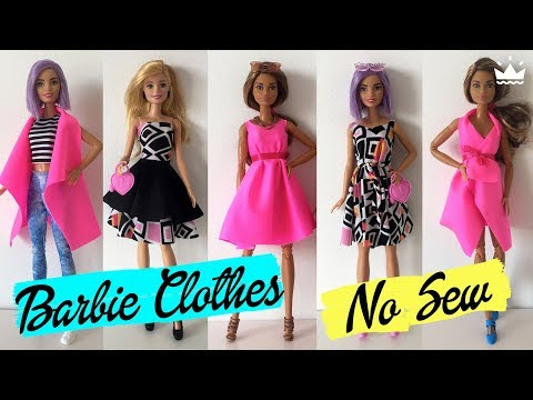 How to make Barbie clothes Without sewing! DRESSES, SKIRT, TOP AND VEST. Compilation