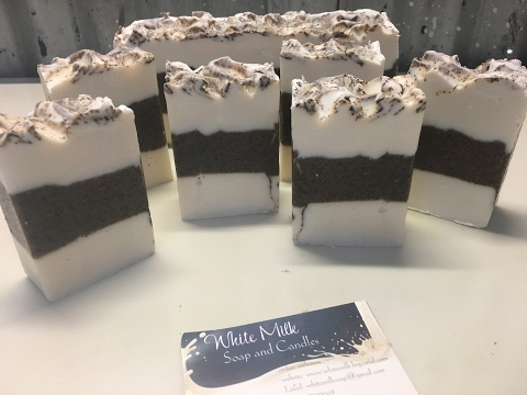 Cold process coffee soap, making and cutting