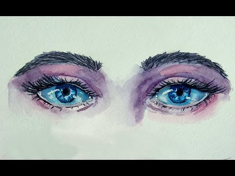 How To Paint Watercolor Eyes - Painting Demonstration. Part 1