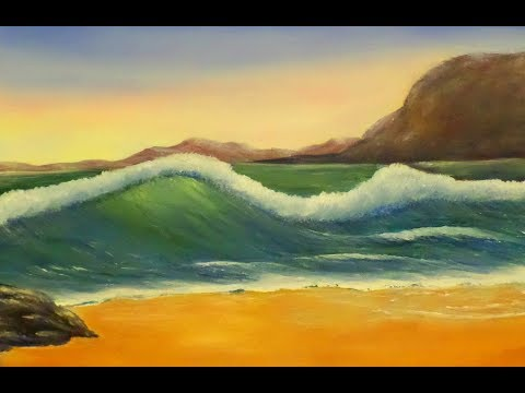 A must see TRICK for painting Distant hills and a BIG BEACH WAVE..Acrylic Painting Seascape tutorial