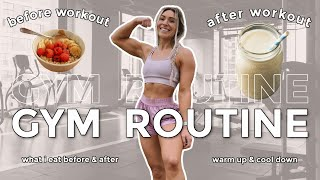 GYM ROUTINE   What I Do & Eat Before, During & After The Gym   Upper & Lower Body Workouts