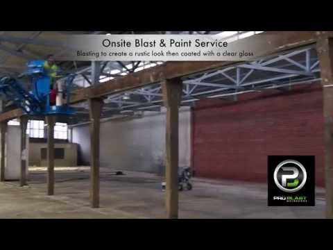 Dustless blasting creating a rustic look on timber and steel