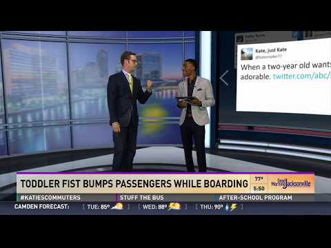 2 year-old fist bumps passengers on plane