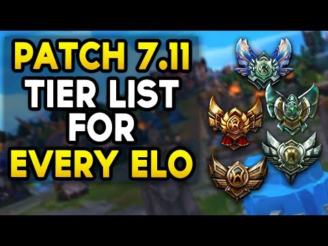 Patch 7.11 TIER LIST for EVERY ELO and EVERY ROLE (League of Legends)