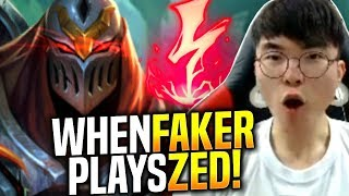 Faker Tries How is Zed Right Now!? - When Faker Picks Zed Mid! | SKT T1 Replays