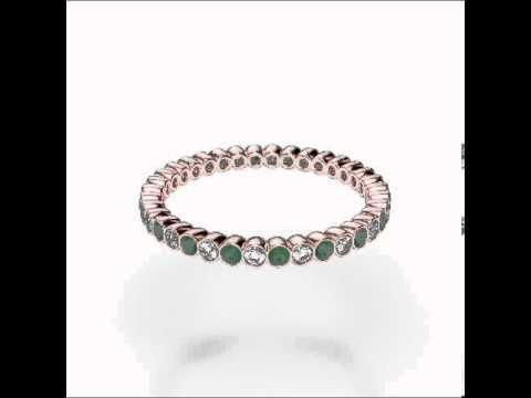 Rose Gold Emerald Diamond Eternity Ring   RGold Emerald Eternity Ring 1098