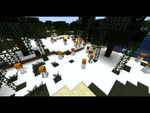 Minecraft 1.9 - Snow golem Army & How to make a snow golem!