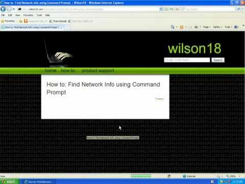 How to: Find Network Info using Command Prompt on Windows XP