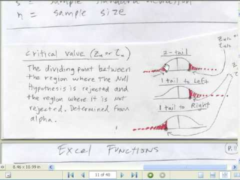 Excel Statistics 89: Hypothesis Testing With Critical Value & p-value
