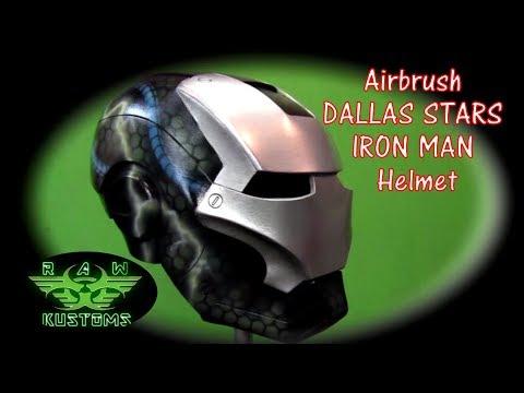 Airbrush Dallas Stars Iron Man helmet