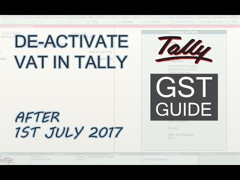 De-Activate VAT in GST Enabled Tally ERP 9 | GST in Tally