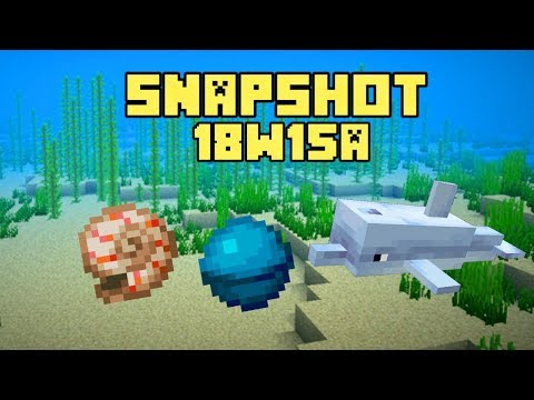 New Minecraft 1.13 Snapshot 18w15a Dolphins, Heart Of The Sea and Nautilus Shell !!!!
