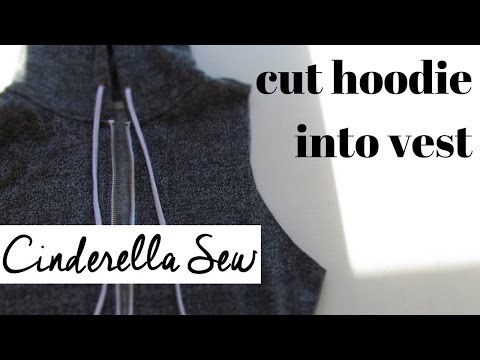 How to cut a hoodie into a vest - Cut the arms off a sweater - DIY hoody refashion tutorial