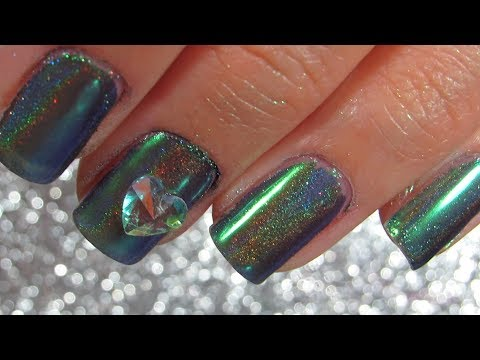 Super Easy Holographic Green Nails