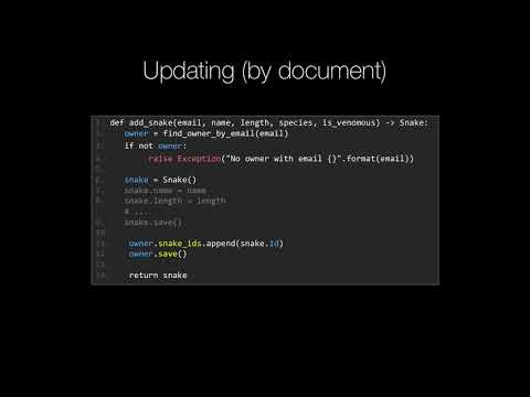 MongoDB and Python Quickstart (20/21): Concept: Updating via whole documents